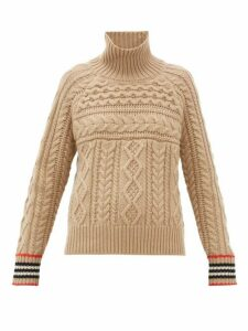 Burberry - High-neck Cable-knit Cashmere Sweater - Womens - Camel