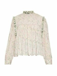 Isabel Marant Étoile - Vega High-neck Floral-print Blouse - Womens - Pink Multi