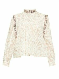 Isabel Marant Étoile - Vega Floral-print Cotton-blend Blouse - Womens - Ivory Multi