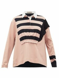 Preen Line - Giselle Ruched Striped Cotton Rugby Top - Womens - Black Pink
