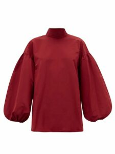 Valentino - Neck-tie Cotton-blend Faille Blouse - Womens - Red