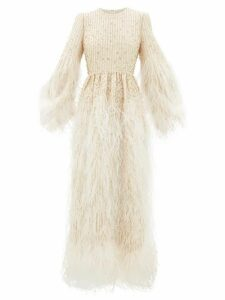 Valentino - Feather-trimmed Beaded Wool-blend Gown - Womens - Ivory Multi