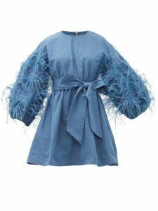 Valentino - Feather-trim Cotton-blend Faille Mini Dress - Womens - Blue