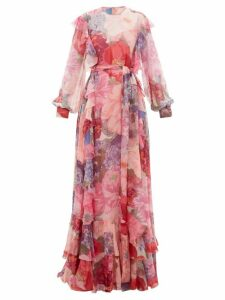 Valentino - Floral-print Ruffled Belted Chiffon Gown - Womens - Multi