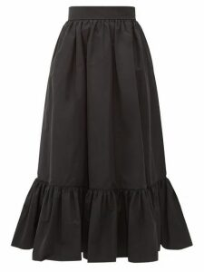 Valentino - Ruffled-hem Cotton-blend Faille Midi Skirt - Womens - Black