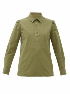 Saint Laurent - Half-button Distressed Cotton Work Shirt - Womens - Khaki
