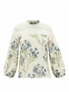 REDValentino - Cornflower Block-print Silk Crepe And Lace Blouse - Womens - Cream Multi