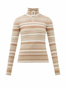 JW Anderson - Zipped Roll-neck Striped Wool Sweater - Womens - Beige Multi
