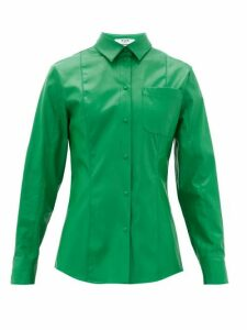Msgm - Faux-leather Overshirt - Womens - Green
