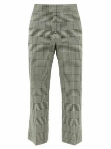 MSGM - Cropped Houndstooth-check Wool Trousers - Womens - Black White