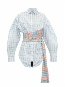 Natasha Zinko - Sash-waist Checked Cotton Shirt - Womens - White Multi
