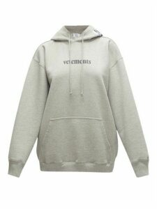 Vetements - Logo-print Cotton-blend Jersey Hooded Sweatshirt - Womens - Grey
