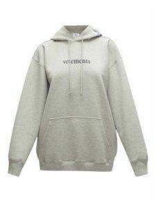 Vetements - Logo-print Cotton-blend Jersey Hooded Sweatshirt - Womens - Grey