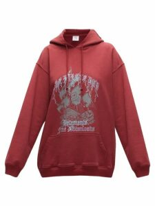 Vetements - The Pirate Bay-print Cotton-jersey Hoodie - Womens - Burgundy