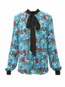 Mary Katrantzou - Veddar Floral-print Pussy-bow Silk Blouse - Womens - Blue Multi
