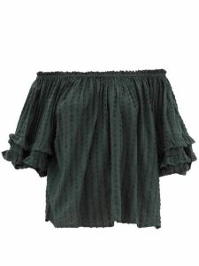 Apiece Apart - Sandrine Off-the-shoulder Fil-coupé Gauze Top - Womens - Green