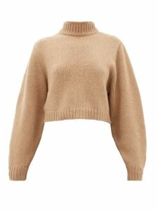 The Row - Tabeth Cropped Cashmere Sweater - Womens - Light Brown