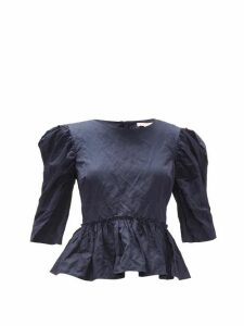 Brock Collection - Puff-sleeve Satin Top - Womens - Navy