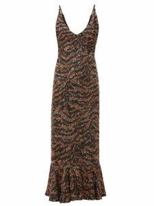 Saloni - Aidan D Tiger Sequinned Fluted-hem Midi Dress - Womens - Bronze