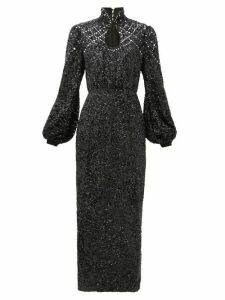 Saloni - Domino High-neck Balloon-sleeve Sequinned Dress - Womens - Black