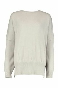 Womens Oversized Balloon Sleeve Knitted Jumper - grey - M/L, Grey