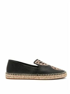 Sophia Webster - Bibi Butterfly-embroidered Espadrille Loafers - Womens - Black Gold