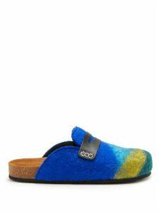 JW Anderson - Striped Backless Felt Loafers - Womens - Blue Multi