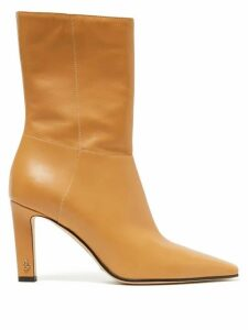 Jimmy Choo - Merle 100 Square-toe Leather Ankle Boots - Womens - Beige