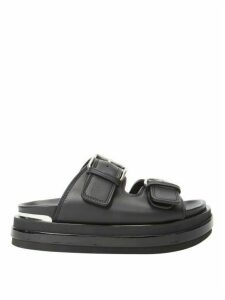 Alexander Mcqueen - Buckled Leather Flatform Sandals - Womens - Black