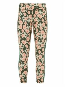 The Upside - Side-stripe Poppy-print Jersey Leggings - Womens - Green Print