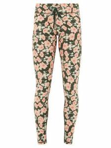 The Upside - Drawstring Poppy-print Performance Leggings - Womens - Green Print