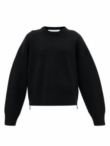 Paco Rabanne - Zipped-side Knitted-wool Sweater - Womens - Black