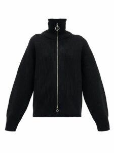 Paco Rabanne - Two-way Zip Ribbed Wool Sweater - Womens - Black
