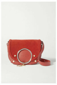 See By Chloé - Mara Embellished Suede And Leather Shoulder Bag - Red