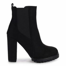 ATTRACTION - Black Suede Round Toe Heeled Ankle Boot With Block Heel & Cleated Sole