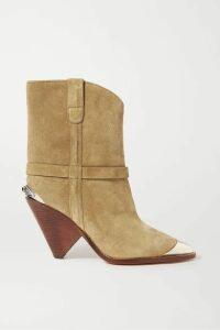 Isabel Marant - Lamsy Embellished Suede Ankle Boots - Beige