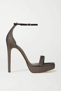 Alexandre Birman - Cindy Mesh And Metallic Leather Platform Sandals - Black