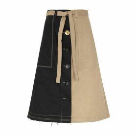 Eudon Choi Manet Panelled Twill Midi Skirt