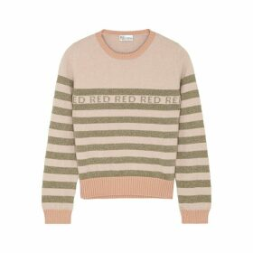 RED Valentino Striped Metallic-weave Jumper