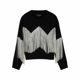 Izaak Azanei Black Crystal-embellished Cotton Jumper