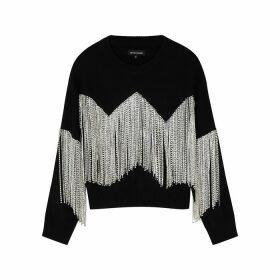 Izaak Azanei Black Crystal-embellished Cotton Jumper