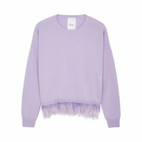 IN. NO Icelyn Lilac Feather-trimmed Wool-blend Jumper