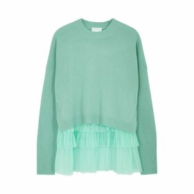 IN. NO Opera Mint Tulle And Wool-blend Jumper