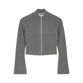 THREADS OF PRVLG Grey Cashmere-blend Cardigan