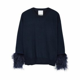 IN. NO Crystal Navy Feather-trimmed Wool-blend Jumper