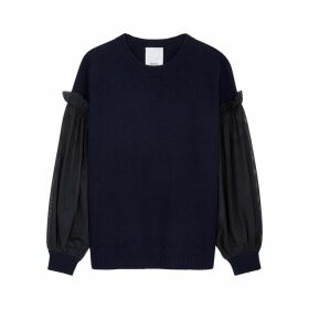 IN. NO May Navy Tulle And Wool-blend Jumper