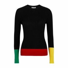 JW Anderson Colour-blocked Ribbed Wool Jumper