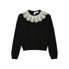 RED Valentino Black Macramé-trimmed Wool-blend Jumper