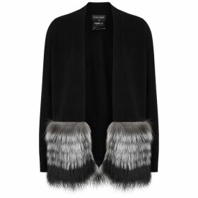 Izaak Azanei Black Fur-trimmed Wool And Cashmere-blend Cardigan