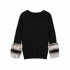 Izaak Azanei Black Fur-trimmed Wool And Cashmere-blend Jumper